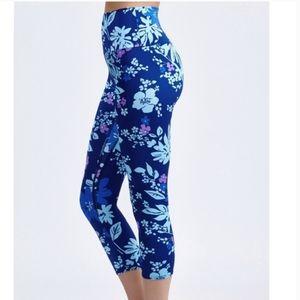 K-DEER Indigo Girl Floral High Waist Crop Leggings